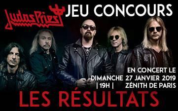 Résultats Jeu Concours Judas Priest 2018