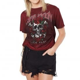 Tee Shirt Femme AFFLICTION - Skull And Roses