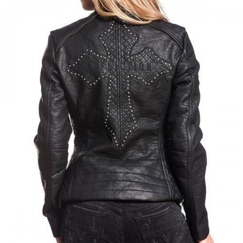 veste en cuir queen dans le dos