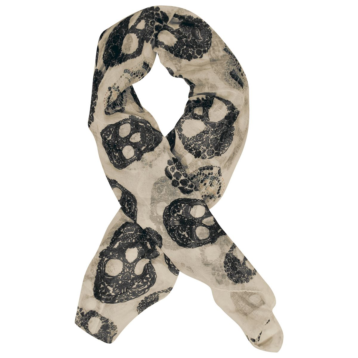 foulard t te de mort flower skulls foulards rock a gogo. Black Bedroom Furniture Sets. Home Design Ideas