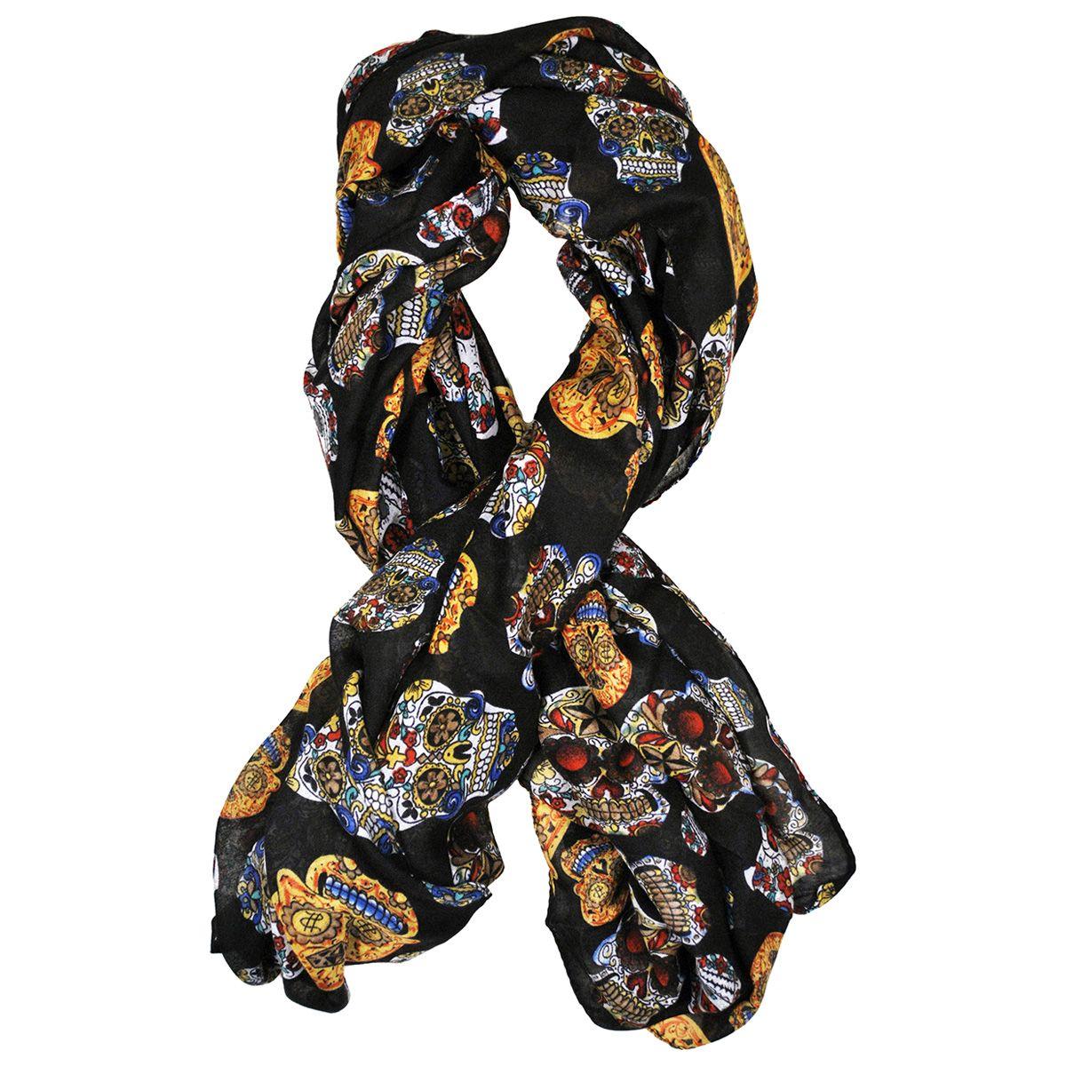 foulard t te de mort mexicaines noir foulards rock a. Black Bedroom Furniture Sets. Home Design Ideas