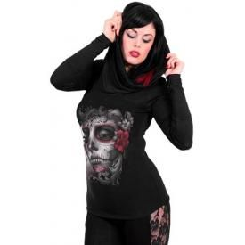 Tee Shirt Manches Longues Femme Spiral DARK WEAR - Skull Roses