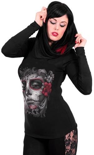 t shirt manches longues femme spiral skull roses t. Black Bedroom Furniture Sets. Home Design Ideas