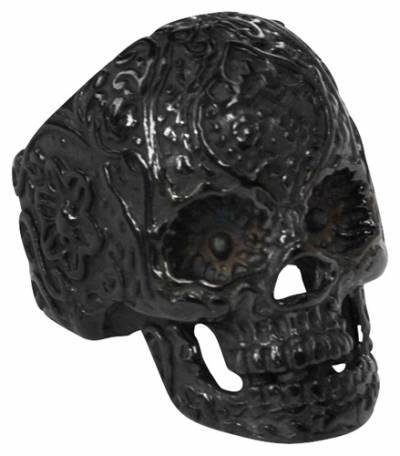 bague acier black mexican skull bagues rock a gogo. Black Bedroom Furniture Sets. Home Design Ideas