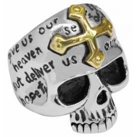Bague ACIER - Gold Crux Skull