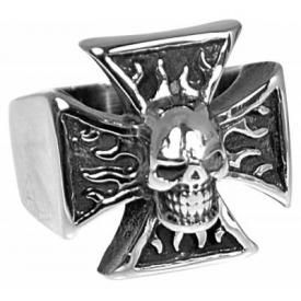 Bague TÊTE DE MORT - Flaming Skull On Cross