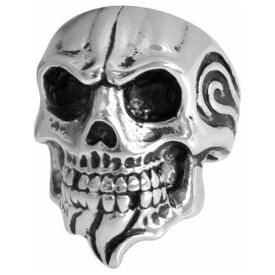 Bague ACIER - Flaming Tribal Skull