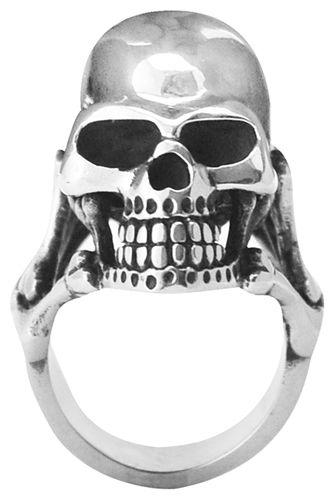 bague t te de mort big skull bones bagues rock a gogo. Black Bedroom Furniture Sets. Home Design Ideas