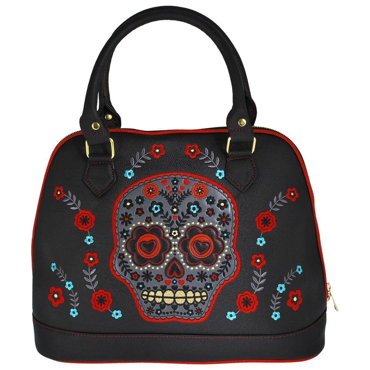 sac main banned flower skull sacs rock a gogo. Black Bedroom Furniture Sets. Home Design Ideas