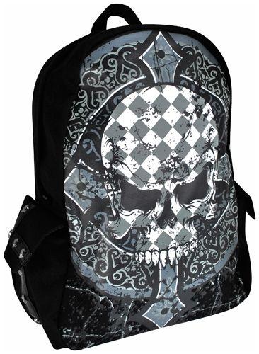 sac dos banned checkered skull sacs rock a gogo. Black Bedroom Furniture Sets. Home Design Ideas