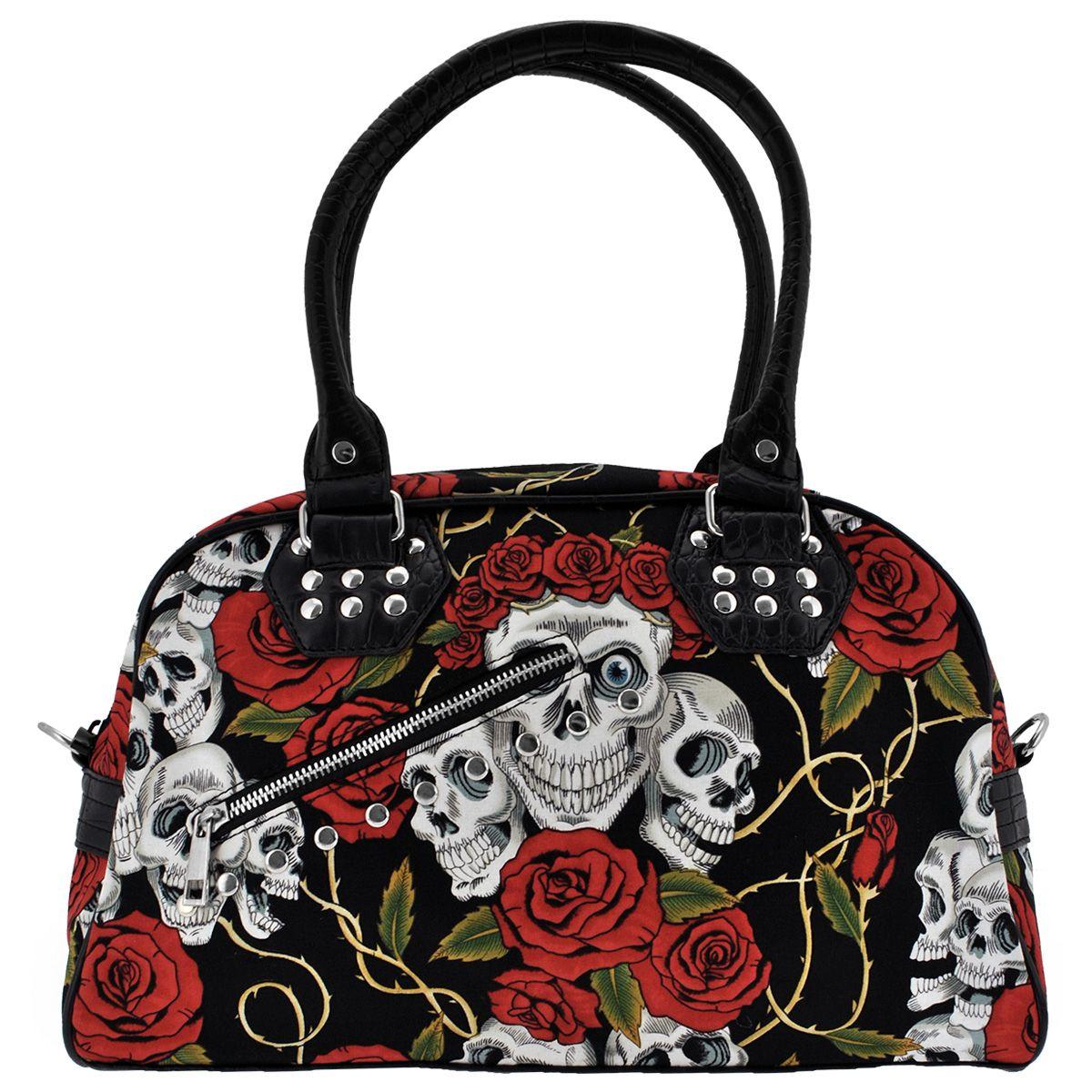 sac main banned skulls roses sacs rock a gogo. Black Bedroom Furniture Sets. Home Design Ideas