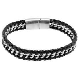 Bracelet ACIER et CUIR - Tresses