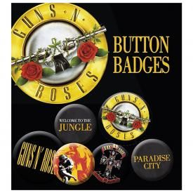 Pack de 6 Badges GUNS N ROSES - Logos