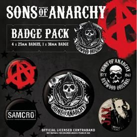 Pack de 5 Badges SONS OF ANARCHY - Redwood