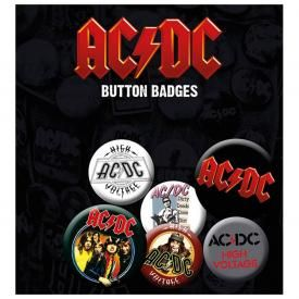 Pack de 6 Badges AC/DC - Mix Logo