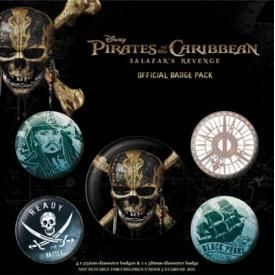 Pack de 5 Badges PIRATES DES CARAÏBES - La Vengeance de Salazar