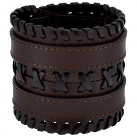 Bracelet de Force CUIR - Double Tresse Marron