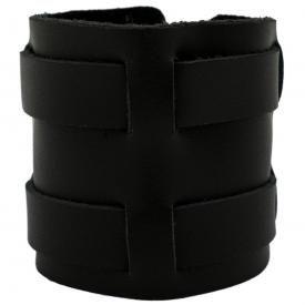 Bracelet de Force CUIR - Double Sangles Noires