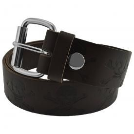 Ceinture CUIR - Brown Skull Embossed