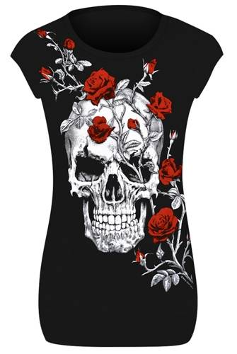 tee shirt femme t te de mort skull roses t shirts. Black Bedroom Furniture Sets. Home Design Ideas