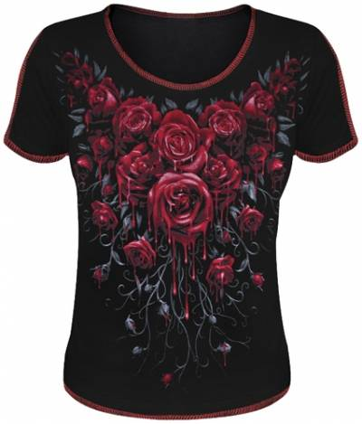 07434d7cb0c4a Tee Shirt Femme SPIRAL - Blood Rose - Rock A Gogo