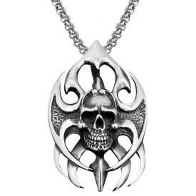 Collier ACIER - Tribal Skull