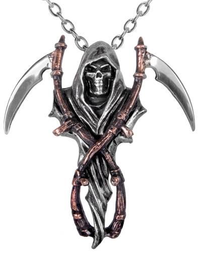 Faucheuse tete de mort en acier inoxydable Collier pendentif Sons of Anarchy