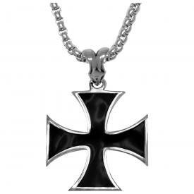 Pendentif + Chaîne ACIER - Croix de Malte