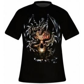 T-Shirt Mec DARK WEAR - Dragon On Skull Glow