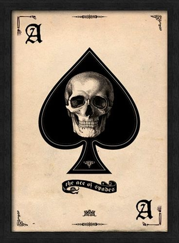 affiche sous cadre t te de mort ace of spades cadres rock a gogo. Black Bedroom Furniture Sets. Home Design Ideas