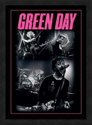 affiche sous cadre green day photo rock a gogo. Black Bedroom Furniture Sets. Home Design Ideas