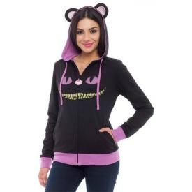 Sweat Capuche Zippé Femme ALICE IN WONDERLAND - Cat Reversible