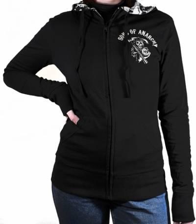 sweat capuche zipp femme sons of anarchy reversible jacket sweats rock a gogo. Black Bedroom Furniture Sets. Home Design Ideas