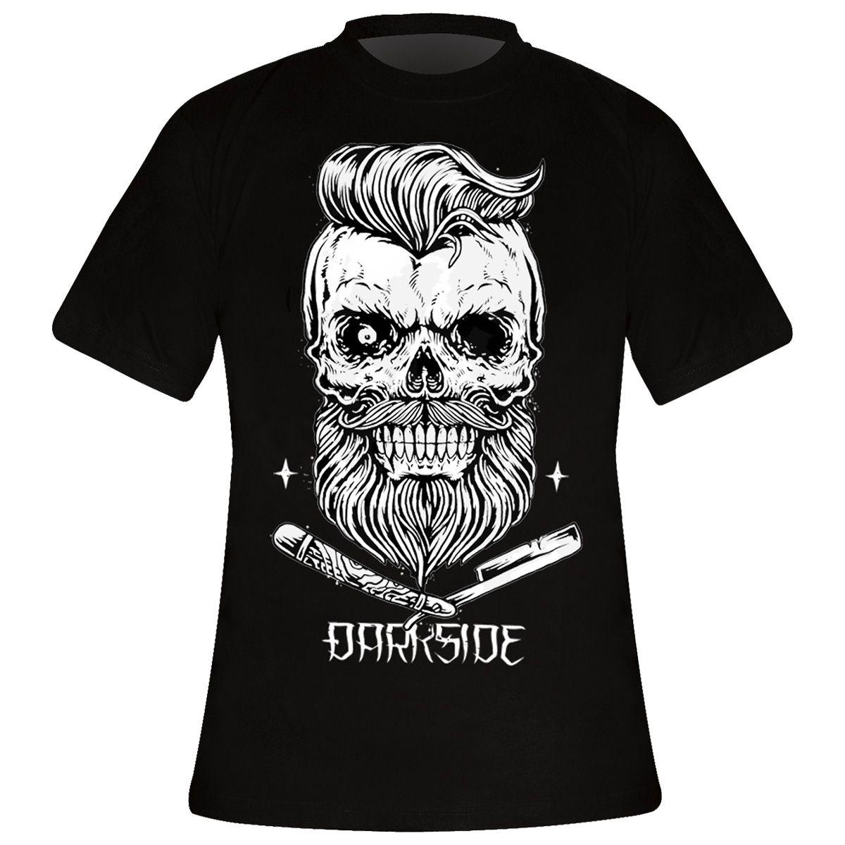 t shirt mec darkside bearded skull black t shirts rock a gogo. Black Bedroom Furniture Sets. Home Design Ideas