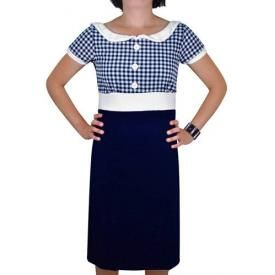 Robe T-BAR - Retro Vichy Bleu & Blanc