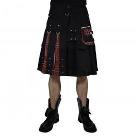 Kilt Mixte DEAD THREADS - Red Tartan On Black Skirt