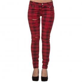 pantalon femme banned red scott tartan pantalons rock a gogo. Black Bedroom Furniture Sets. Home Design Ideas