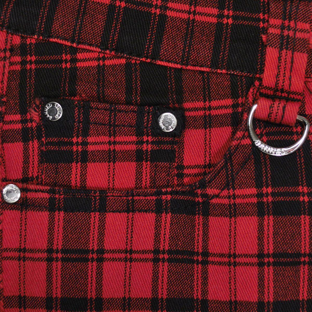pantalon femme banned grunge red tartan pantalons rock a gogo. Black Bedroom Furniture Sets. Home Design Ideas