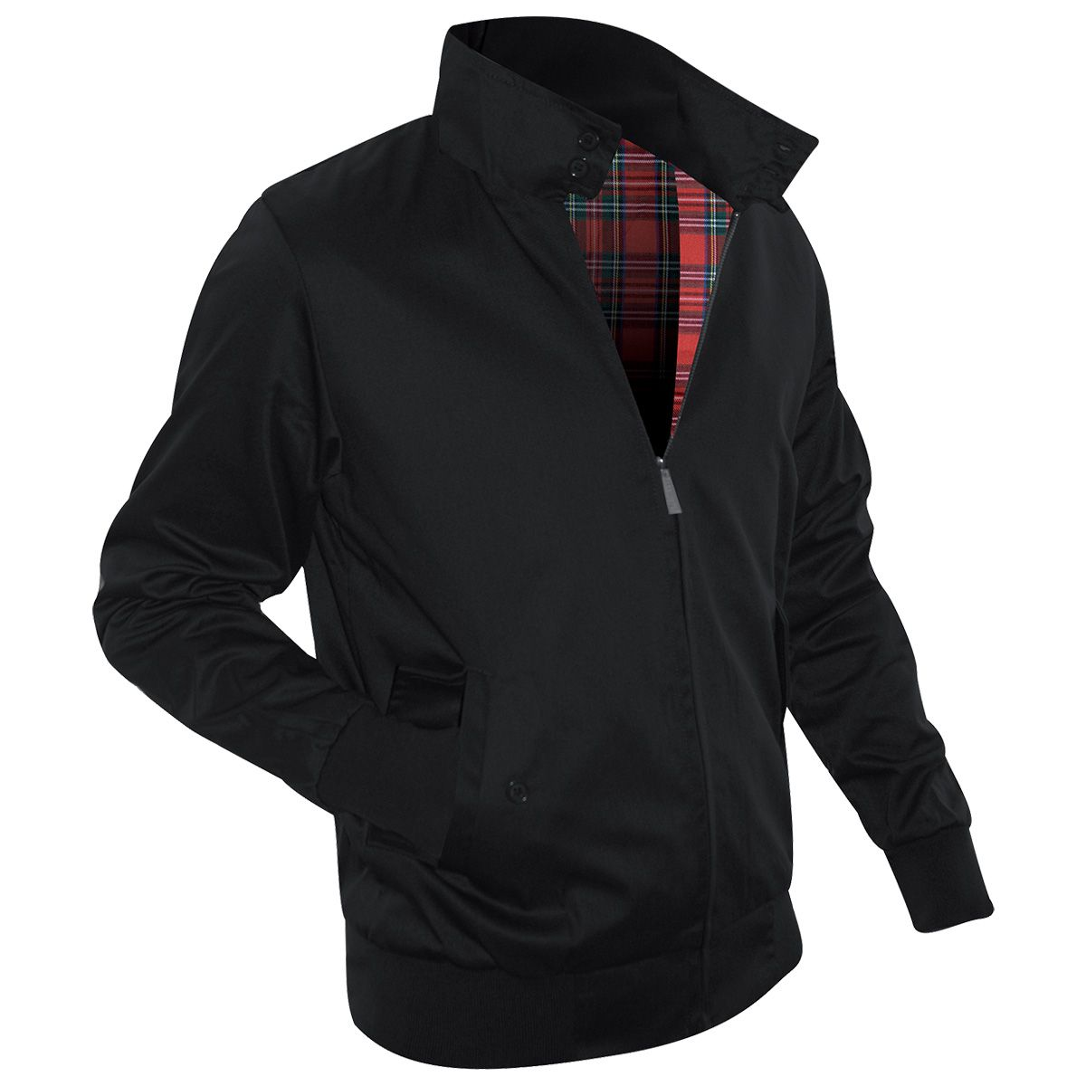 Veste harrington noire vestes blousons rock a gogo for Veste interieur ecossais
