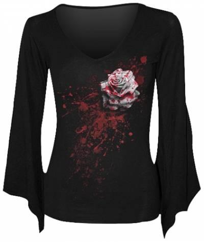 t shirt manches longues femme spiral white rose t shirts rock a gogo. Black Bedroom Furniture Sets. Home Design Ideas