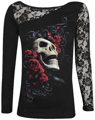t shirt manches longues nana dark wear rose skull t. Black Bedroom Furniture Sets. Home Design Ideas