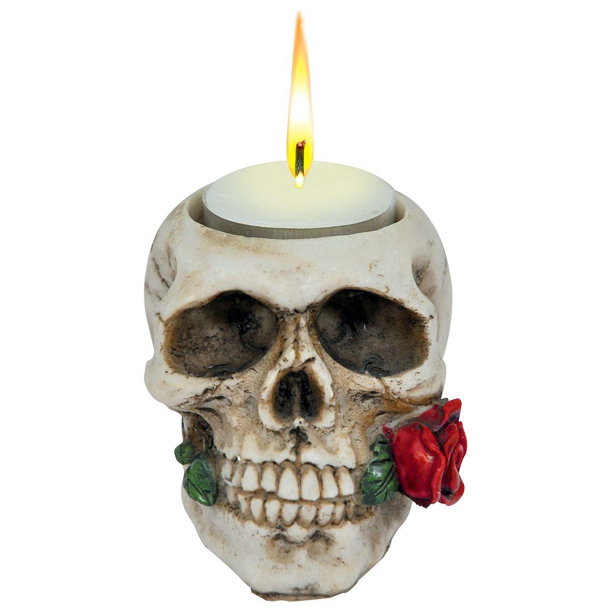 bougeoir dark d co skull rose bougeoirs rock a gogo. Black Bedroom Furniture Sets. Home Design Ideas