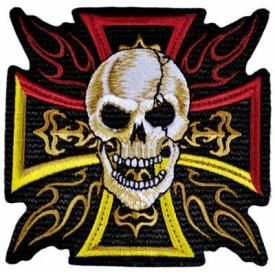 Patch TÊTE DE MORT - War Cross Flames