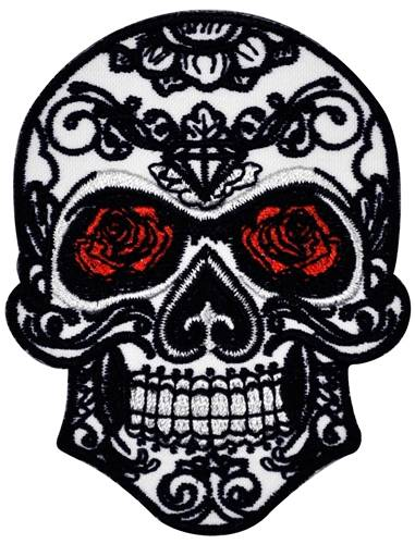 patch t te de mort skull tribe roses patchs rock a gogo. Black Bedroom Furniture Sets. Home Design Ideas