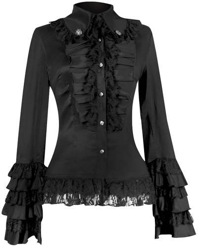 chemise nana pentagramme jabot chemises rock a gogo. Black Bedroom Furniture Sets. Home Design Ideas