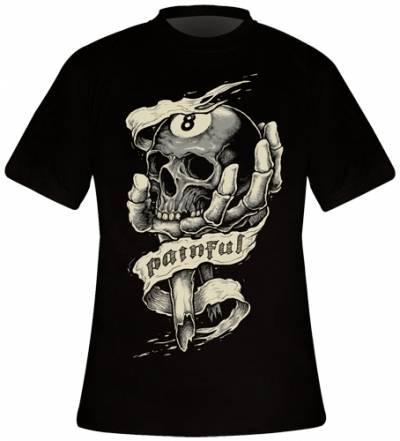 t shirt mec painful 8 ball skull t shirts rock a gogo. Black Bedroom Furniture Sets. Home Design Ideas
