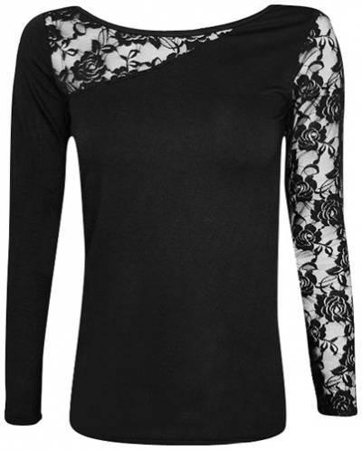 t shirt manches longues femme spiral lace shoulder t shirts rock a gogo. Black Bedroom Furniture Sets. Home Design Ideas
