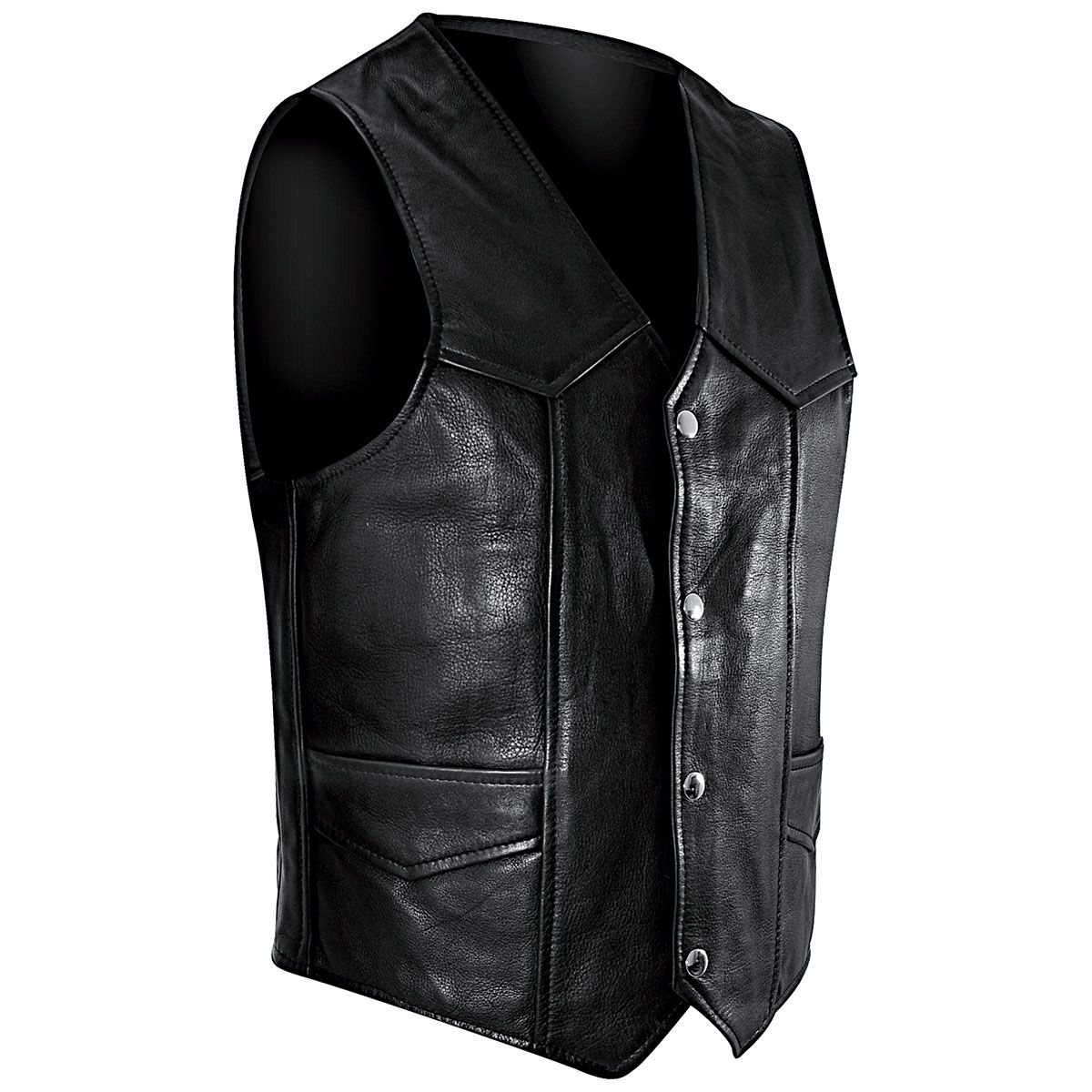 veste cuir sans manches mec osx plain waistcoat vestes. Black Bedroom Furniture Sets. Home Design Ideas