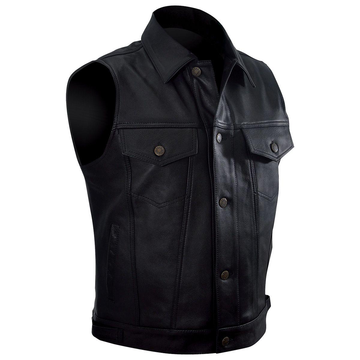 veste cuir sans manches mec osx lee jacket vestes blousons rock a gogo. Black Bedroom Furniture Sets. Home Design Ideas