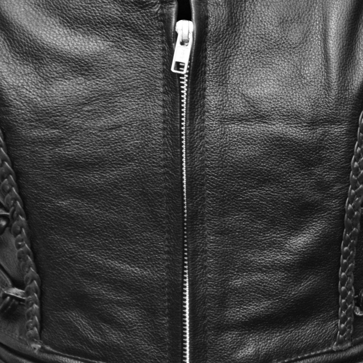 Veste en cuir sans manche moto